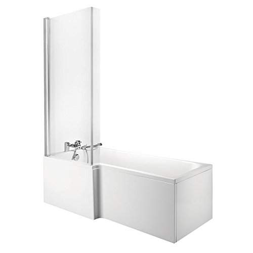 Hudson Reed Eckbadewanne XYZ - Badewanne aus Acryl in Weiß - 510 x 850 x 1700 mm - Linksbündig - Inkl. Duschwand