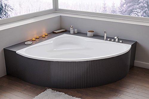 The North Bath FLOWER Asymmetrische Eckwanne Eckbadewanne 130x130 cm Wanne ohne Wannenträger Ablaufgarniur Silikon und Füßen