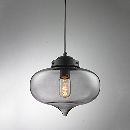 """Modern Industrielle Glas Pendelleuchte, MOTENT Minimal-Art Vintage Hängeleuchter 10,63"""" Breite Ceiling Light Kronleuchter aus Glas Hängelampe E27 Lampenfassung Deckenleuchte Einzel Lampe für Küchen Keller"""