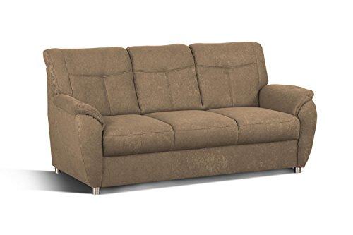 Cavadore 3er Sofa Sunuma / 3-Sitzer Couch braun mit Federkern passend zur Sofagarnitur Sunuma / Modernes Design / Größe: 189 x 91 x 90 cm (BxHxT) / Farbe: Braun