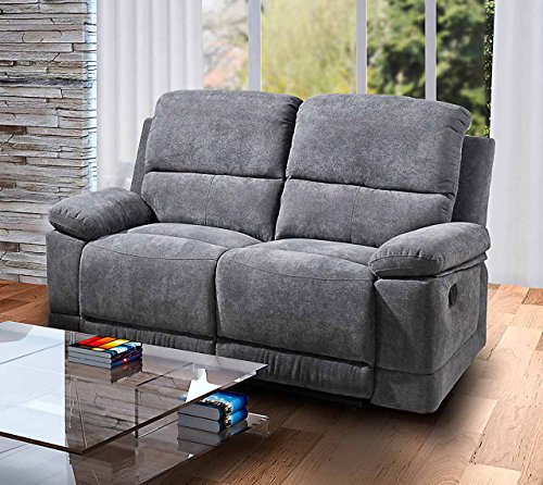 lifestyle4living 2 Sitzer Sofa in Grauer Microfaser mit praktischer Relaxfunktion, verstellbares Funktionssofa mit manueller Starthilfe zum relaxen und genießen