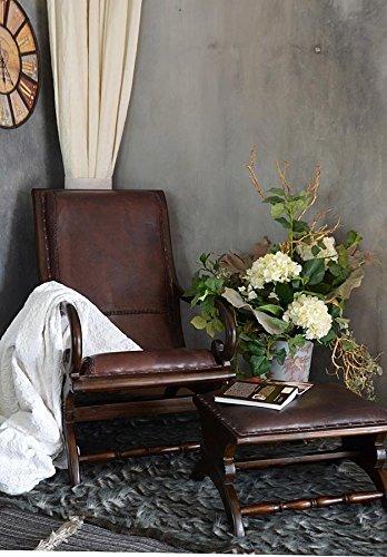 Antyki24 Teakholz Holz Ledersessel Sessel mit Fusshocker Leder Lounge Kolonialstil 36 x 61 x 46 cm