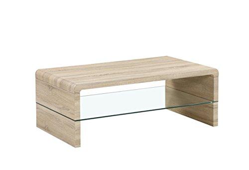 CAVADORE Couchtisch FRED / moderner, niedriger Tisch mit Glaseinsatz und viel Stauraum / Sofa-Beistelltisch in Sonoma Eichenholz Optik hellbraun / mit Ablage / 60 x 110 x 41 cm (L x B x H)