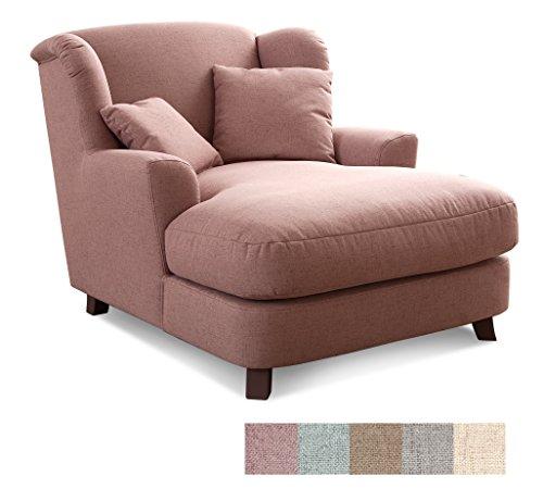 CAVADORE XXL-Sessel Assado Polstersessel mit Holzfüßen, großer Sitzfläche, Polsterung und 2 weichen Kissen, Stoff, rosa, 109x104x145 (BxHxT)