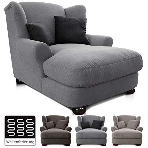 CAVADORE XXL-Sessel Oasis / Großer Polstersessel im modernen Design / Inkl. 2 schöne Zierkissen / 120 x 99 x 145 / hellgrau