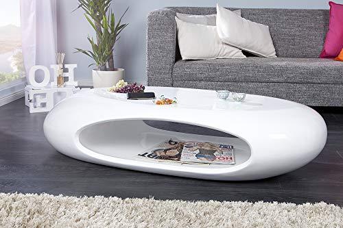 DuNord Design Couchtisch Sofatisch SELENITA Weiss Hochglanz Lack Design Tisch Lounge Möbel