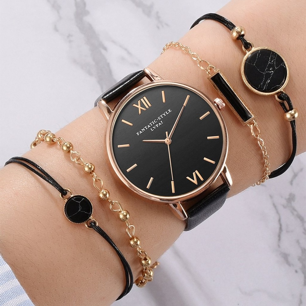 Women's Luxury Leather Band Quartz Watch Set 5 Pcs