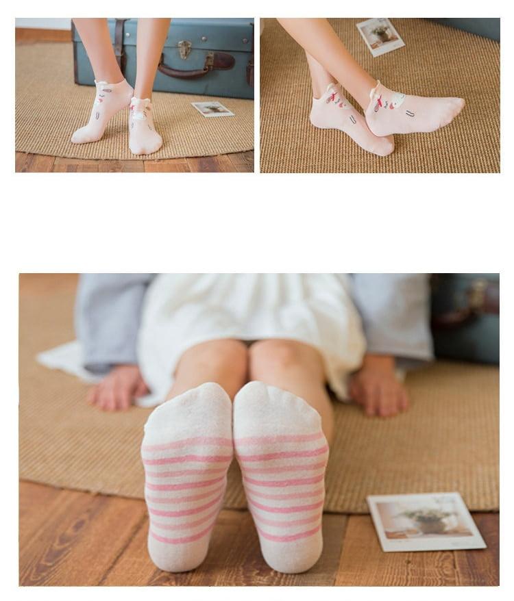 Women's Cotton Cute Printed Socks 5 Pairs
