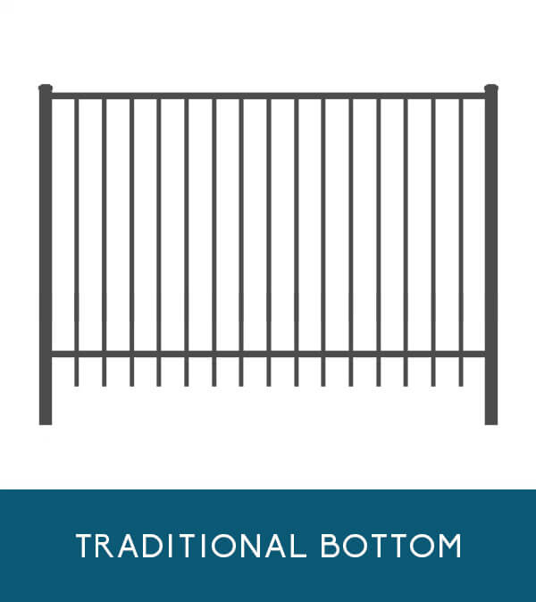 Oceanview aluminum fencing with traditional picket bottom   Coastal Aluminum