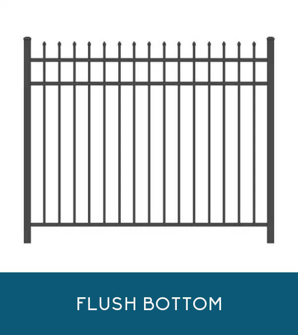 Sailwind aluminum fencing with flush-bottom pickets | Coastal Aluminum
