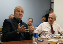 Ken Auletta and Shorenstein Center director Alex S. Jones.