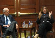 Candy Crowley and Shorenstein Center director Alex S. Jones.