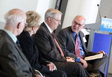 David Broder, Linda Douglass, Dr. Timothy Johnson and Alex S. Jones.