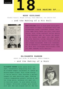 A mockup of the 18 feature in The Commons, showing profiles of Rudy Giuliani and Elizabeth Warren at age 18.