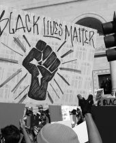A Black Lives Matter protest in the wake of George Floyd's killing