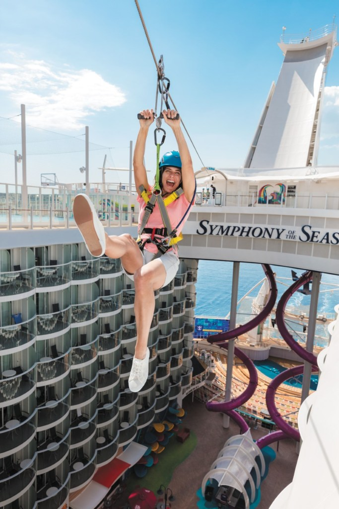 woman hanging on onboard Zip line