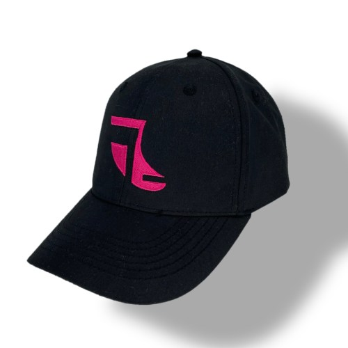 Angled image of Black ShoreTees Baseball Cap with Pink embroidered Fin Logo