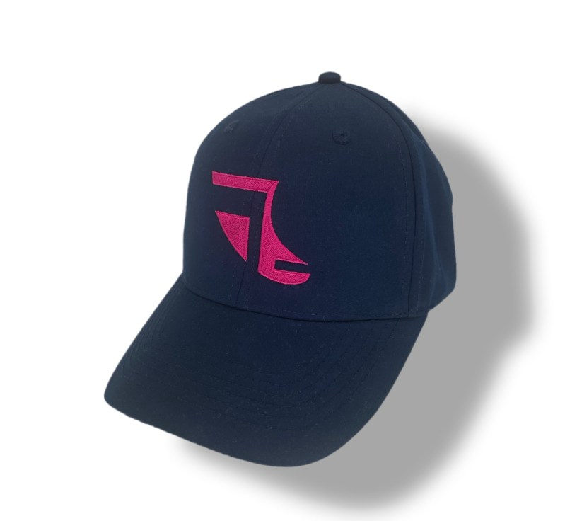 Angled image of Navy Blue ShoreTees Baseball Cap with Pink embroidered Fin Logo