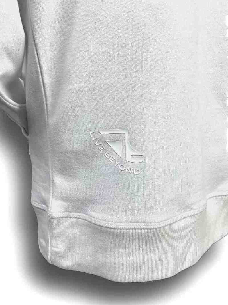 Close up image of Balance Collection Premium White Hoodies White rear silicone detail