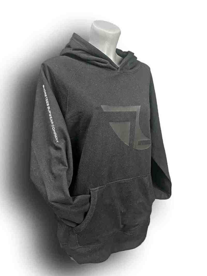 Front image of Ladies Balance Collection Premium Black Hoodie with white arm silicone