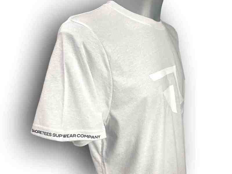 Close up image of Balance Collection Premium White T-Shirts Black arm silicone