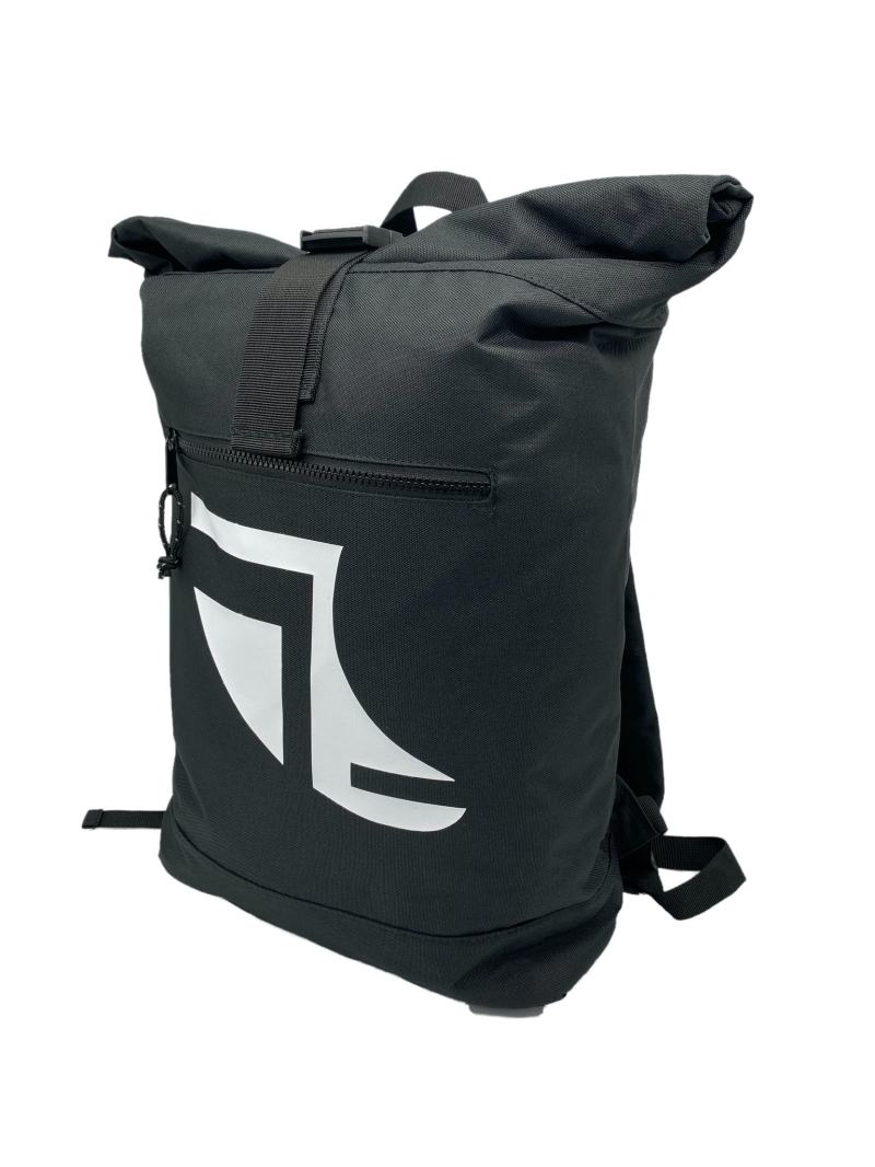 Angled image of Black 20L Recycled Backpack featuring Fin Logo in White