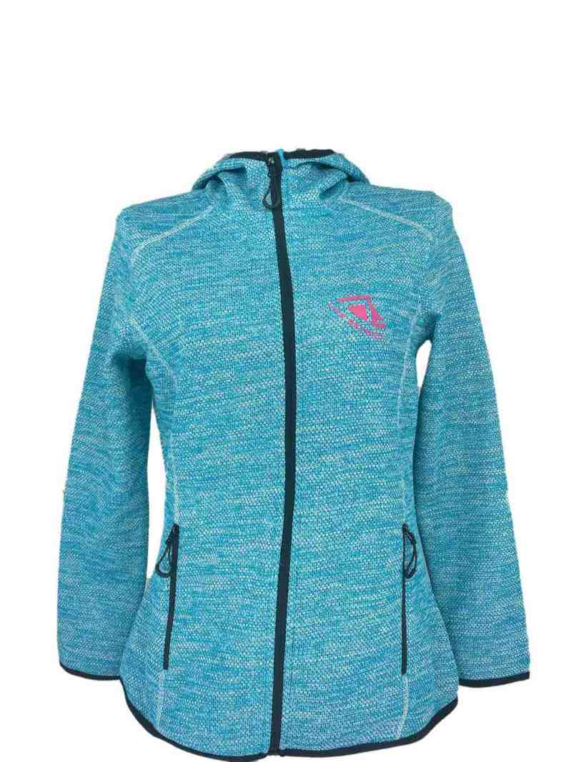 Front on image of Ladies Recycled hooded fleece in Turquoise with Pink 'Live Beyond' print