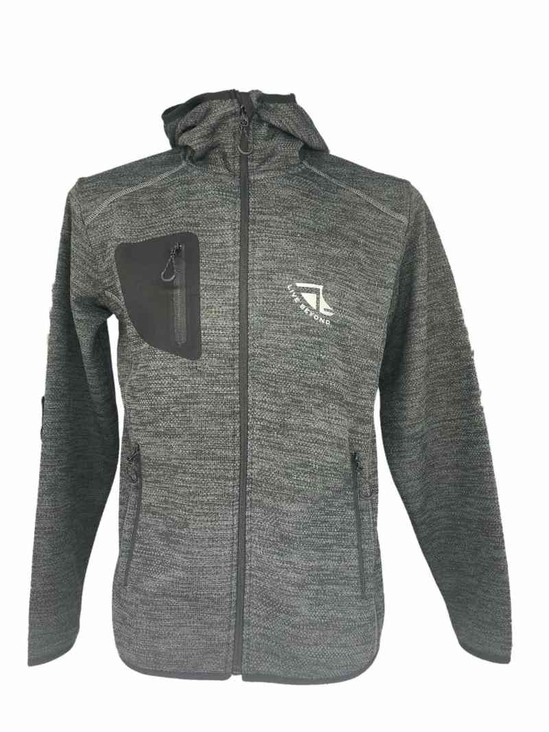 Front on image of Men's Recycled hooded fleece in Steel Grey with Silver 'Live Beyond' print