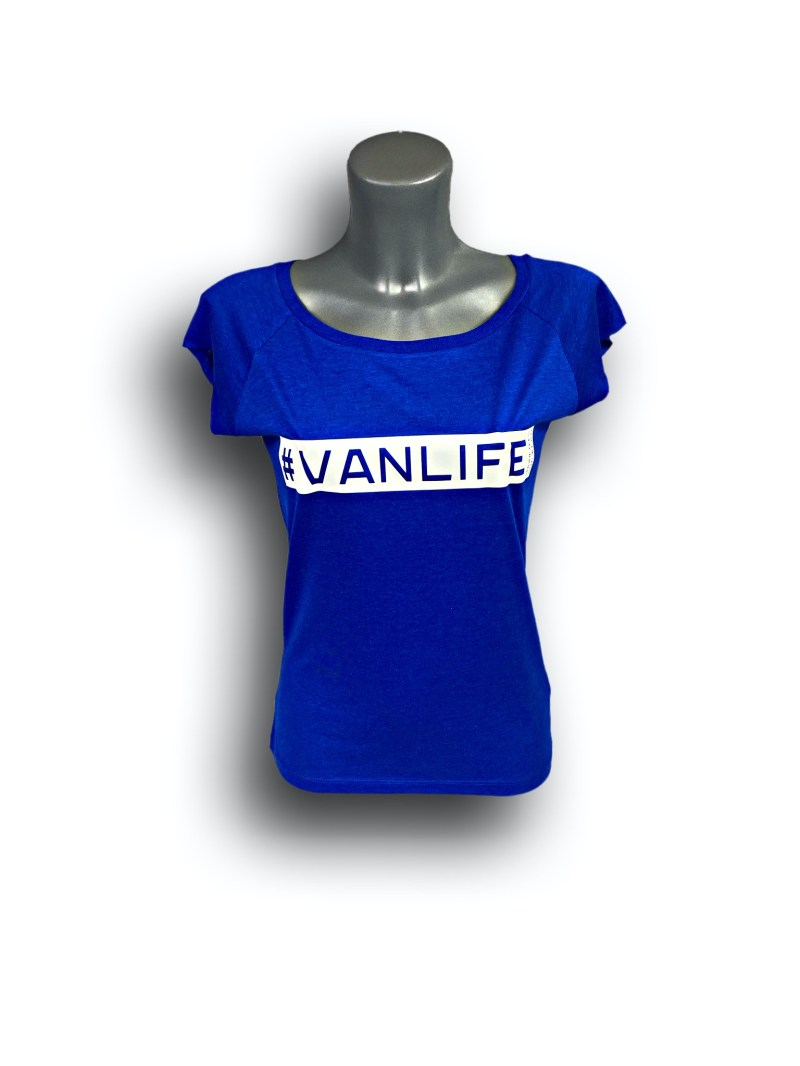 Front image of Ladies Midnight Blue Raglan Bamboo T-Shirt with VanLife hashtag in White