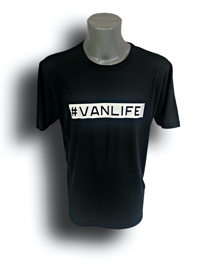 Front image of Mens Black Raglan Bamboo T-Shirt with VanLife hashtag in White
