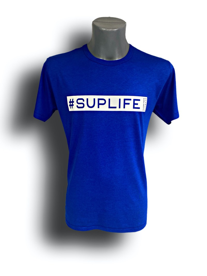 Front image of Mens Midnight Blue Raglan Bamboo T-Shirt with SUPLife hashtag in White