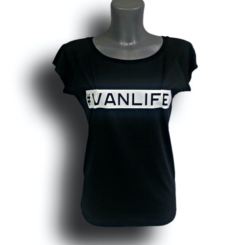 Front image of Ladies Black Raglan Bamboo T-Shirt with VanLife hashtag in White