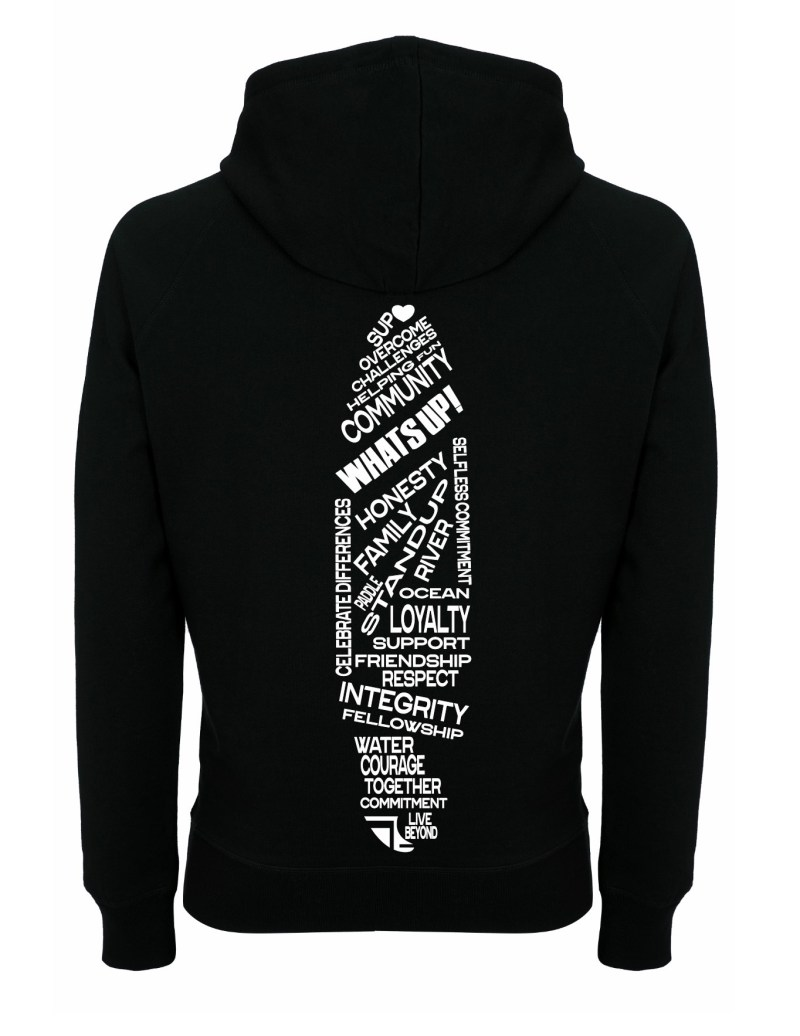 Rear of WhatSUP! unisex recycled Hoodie in Black with White Heart