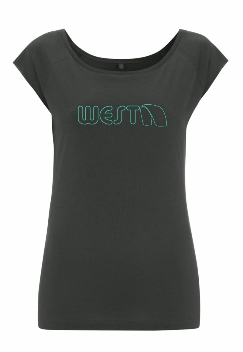 Ladies Grey Bamboo T-Shirt with Turquoise West Kiteboarding design