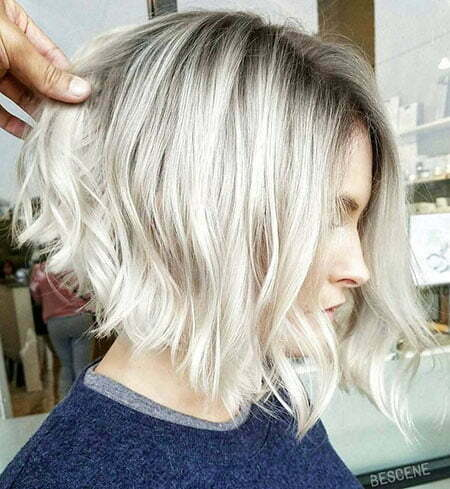Blonde Balayage Hair Color, Wavy Bob Angled Blonde