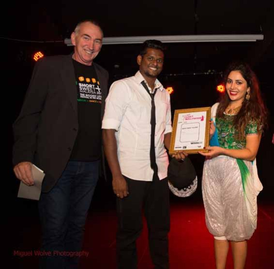 Mark Cleary with 'Best New Talent' John Bosco and Smritie Bhardwaj