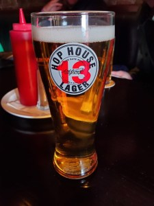Glass of hop house lager in dublin pub