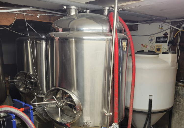 Brewing equipment in a home basement