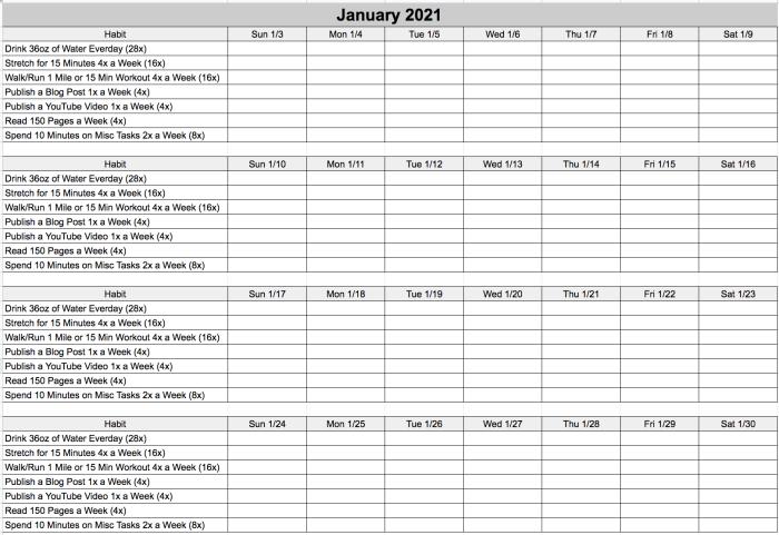 January 2021 Challenge Blank Habit Tracker
