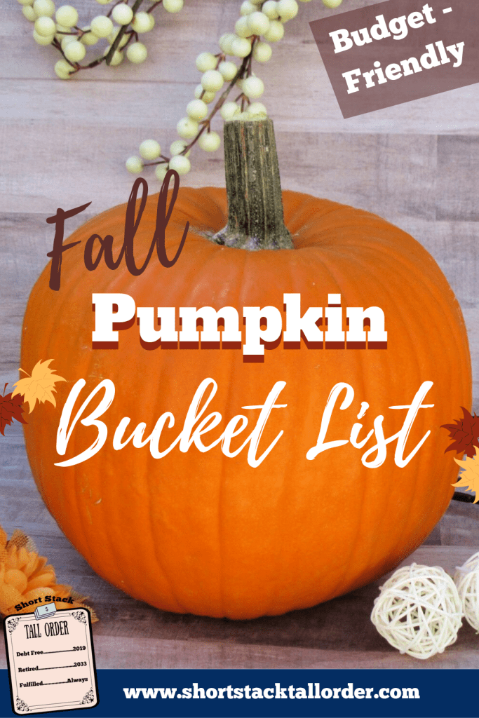 """Large pumpkin with white berries in the background. Text stating """"Budget Friendly Fall Pumpkin Fall Bucket List."""" Small yellow flowers and falling leaves surrounding pumpkin."""