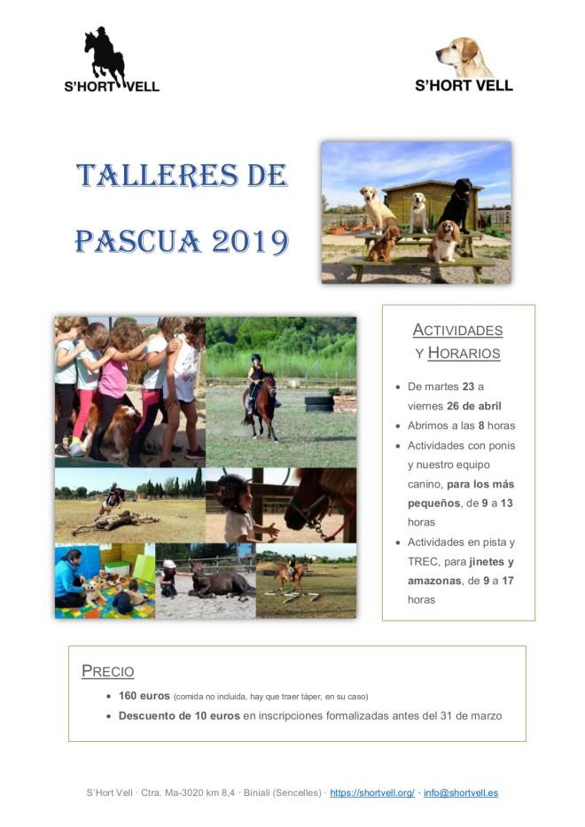 Póster Talleres de Pascua S'Hort Vell 2019