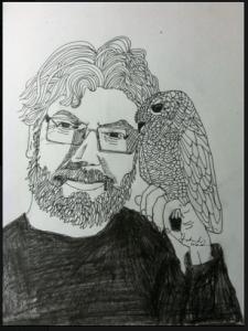 Alex Bledsoe with an Owl by Shoshanah Lee Marohn 2016