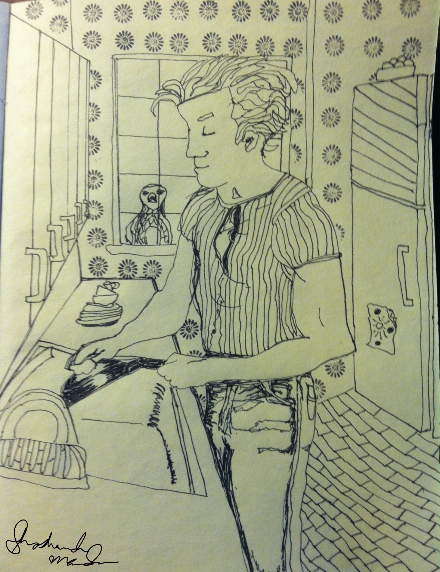 man cleaning house sketch shoshanah marohn 2016
