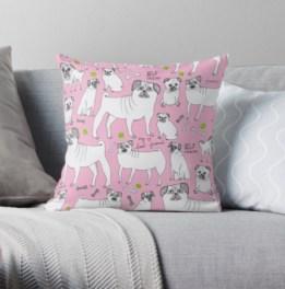 pink pug pillow RB
