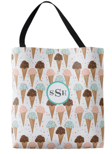 ice cream monogrammed bag by Shoshannah Scribbles