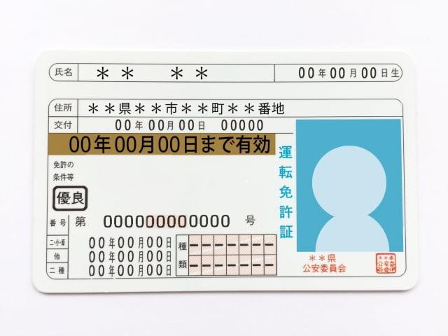 運転免許証のサンプル画像