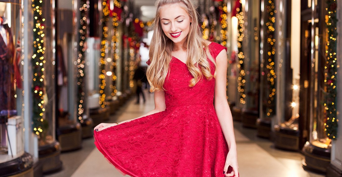 Freddy in a red dress for a christmas lookbook
