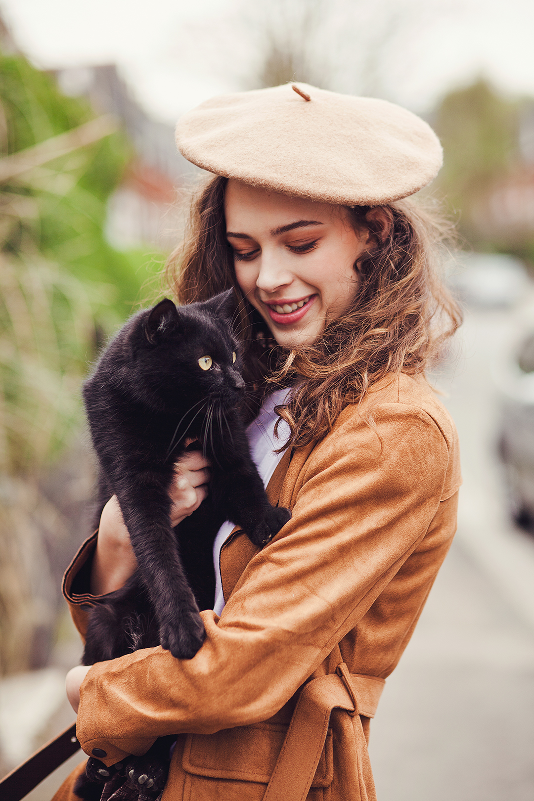 a girl with beret holding a black cat. Angel @ PRM agency model test by Ailera Stone