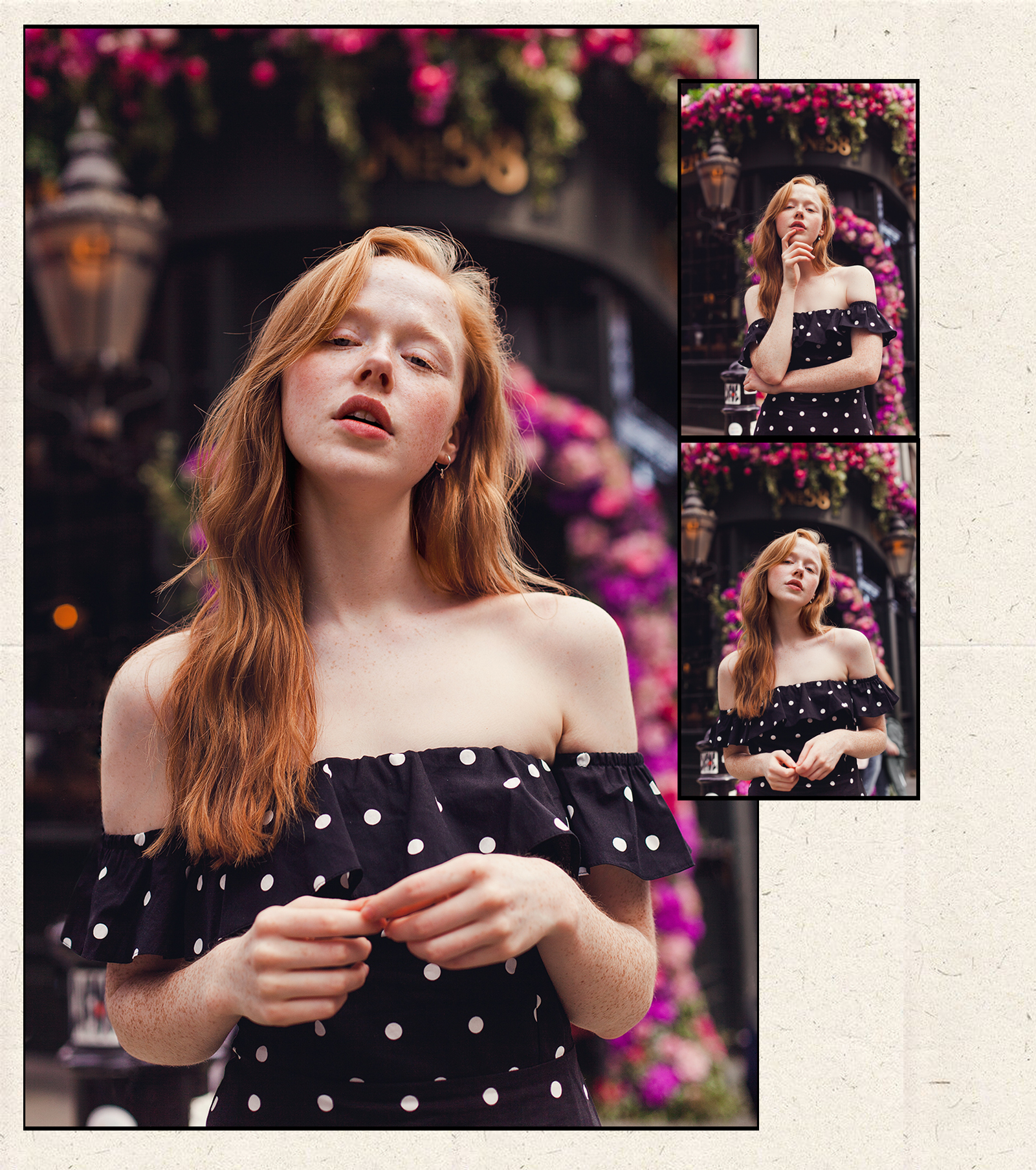 Portrait collage of redhead fashion blogger Holly Rebecca White by Ailera Stone