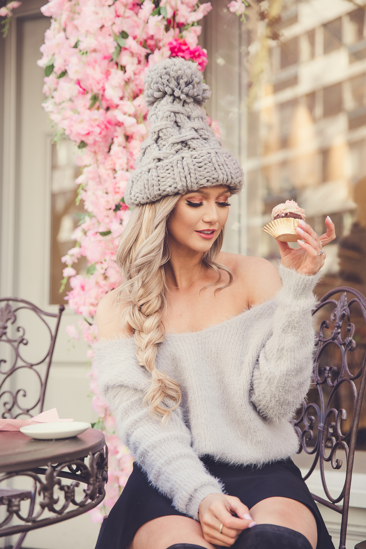 cute cupcake image of fashion blogger Stephanie Danielle by London fashion photographer Ailera Stone